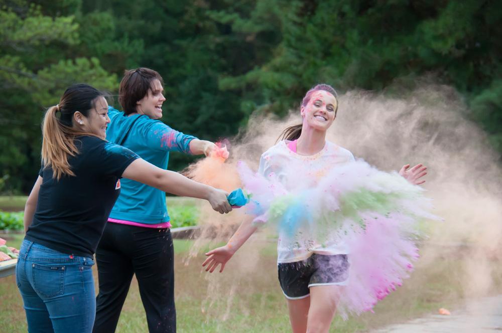Students having fun at the Color Run