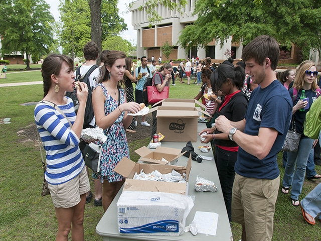 Students in food line on quad