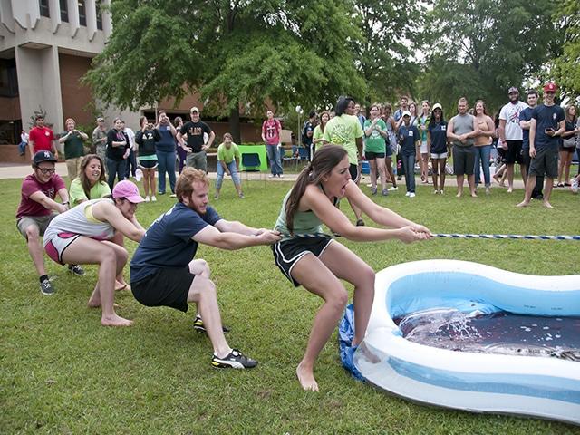 Students playing tug-of-war