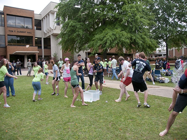 Students playing a game on the quad